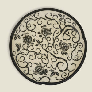 Raine Middleton, carved clay platter, 18-inch diam.