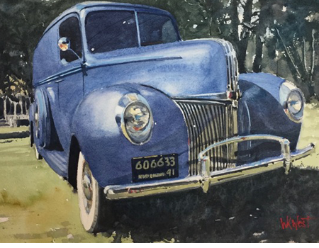 bill west watercolor Reborn 41 Ford Panel Truck